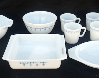 Nine Piece Collection of Pyrex by Corning Glass, Mid 20th Century, Blue on White