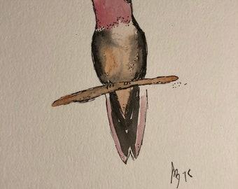 Watercolor hummingbird print