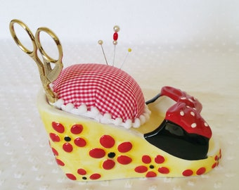 Ceramic Dressy Shoe Pincushion made from cell phone charger - upcycled recycled repurposed - espadrille red shoe sandal AND scissors