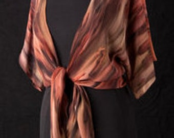 Silk Shrug Jacket, Hand Dyed Hand Painted, Burnt Sienna