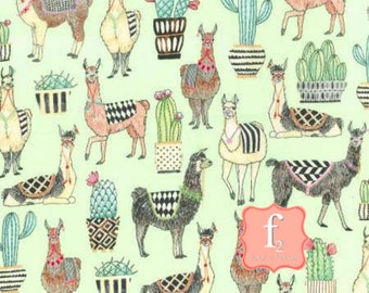 Lovely Llamas Allover Mint Green by Michael Miller Fabrics 100% Quilters Cotton Available in Fat Quarter, Half Yard, Yard