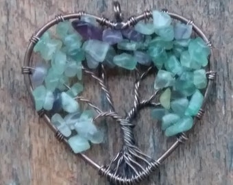 Natural Stones Copper Wired Heart Tree Of Life Pendant