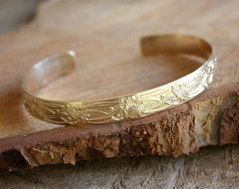 Gold Cuff Bracelet - 14K Gold Filled Cuff - Flowers And Vines Patterned Cuff - Gold Bracelet - Nature Inspired Gold Jewelry - Art Deco