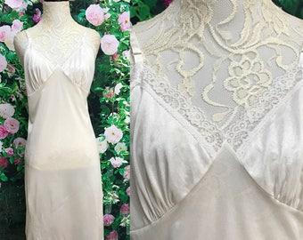 60s Deena White Lace Full Slip Nylon Size 40