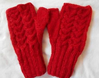 Fingerless Gloves - Alpaca - RED