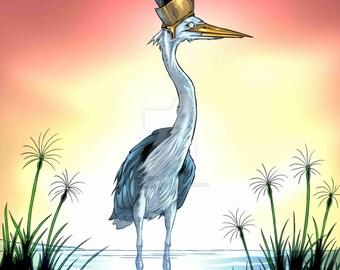 "Bennu Bird Egyptian Mythological Creature Print  11x17"""