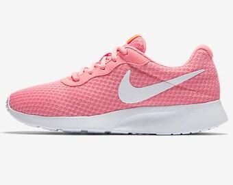 Custom Bling Womens Nike Tanjun Lava Glow, Crimson, White Swarovski Crystal Bling  Sneakers,