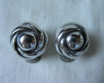 """Vintage silver coloured metal earrings. Clip on ear rings. 1950s mid century. 1"""" diameter"""