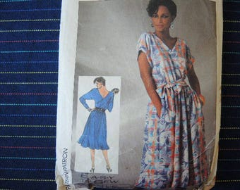 vintage 1980s simplicity sewing pattern 7484 misses easy to sew pullover dress size 16