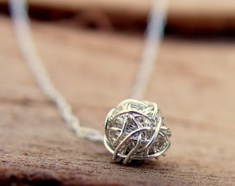 Wire Ball Necklace, Sterling Silver Necklace, Simple Everyday Necklace