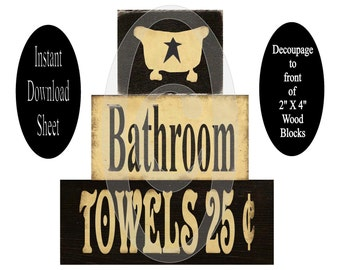 Bathroom Blocks Printable Sheet For Decoupage , Chunky Wood , DIY , Primitive , Instant Download ,  Stackable , 2 X 4 , Easy , Painting ,Tub