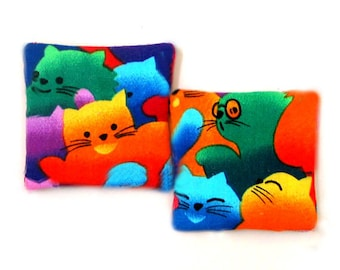 Two Catnip Filled Cat Toys Happy Colorful Cats