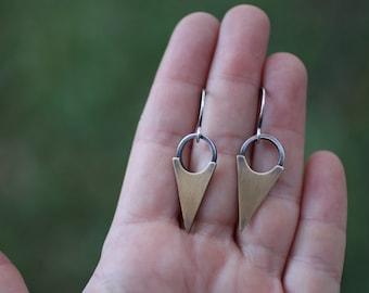 Brass and Silver Dagger Earrings, Mixed Metal Earrings, Triangle Earrings