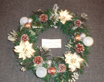Green Christmas Wreath for front door version pink and white poinsettia