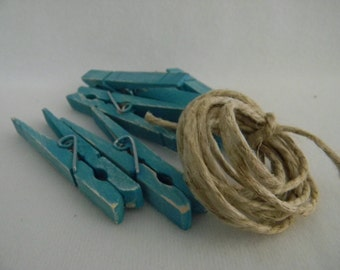 Altered set of clothespins in turquoise shabby chic inspired