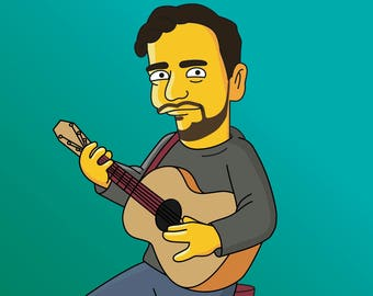 Guitar Player Gift  - Custom Portrait from Photo as Yellow Cartoon Character / Musician Portrait / Gift for Guitarist / Guitarist Gift Idea