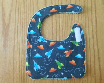 Terry Cloth Bib, Flannel Baby Bib,Spaceship Baby Bib, Baby Shower Gift, Baby Boy Gift, Drool Bib