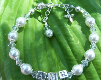 Childs Initial Bracelet Swarovski Pearl Crystal and Sterling Silver