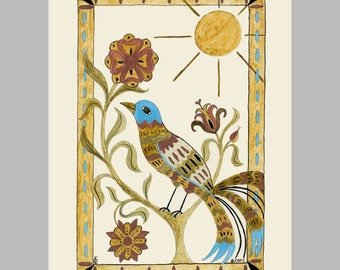 """Folk art frameable greeting card print, """"Stained Glass"""""""