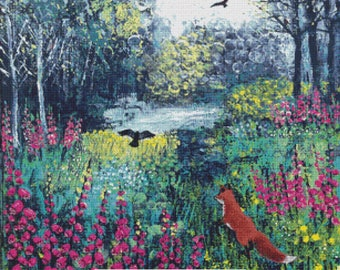 Cross Stitch Kit, 'Through The Foxgloves',Jo Grundy, Counted Needlecraft Kit with DMC materials, Woodland Cross Stitch