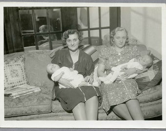 "Vintage 40s Snapshot, ""Mixed Feelings Moms"", Woman With Babies, Photo #126"
