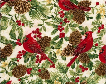 Holiday~Cardinals On White Cotton Fabric By Timeless Treasures