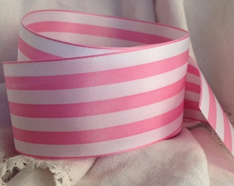 warm pink and white striped ribbon