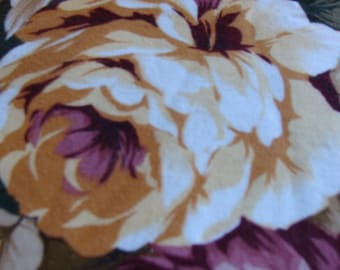 Assorted Roses, Burgundy, Blues, Golds on Heavy White cotton fabric
