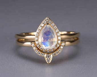 Moonstone engagement ring Vintage Curved Diamond Wedding band Women Antique Pear Shaped Stacking Bridal set Jewelry Anniversary gift for her