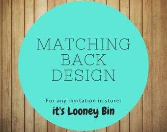 Add On: Matching Back Design