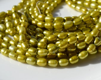 Citron Green 8x5mm Freshwater Rice Pearls  FULL STRAND