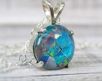 Opal Pendant Necklace, Australian Opal Necklace, Opal Jewelry, Mosaic Opal, Gemstone Necklace, October Birthstone