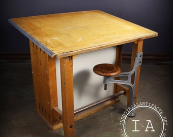 Vintage Industrial Boys Tech Swing Arm Stool Drafting Desk