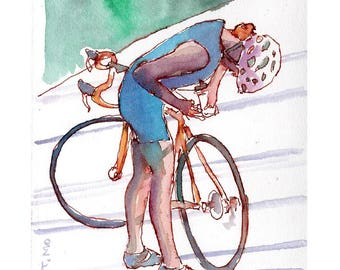 """Print from original watercolor and pen urban sketch, """"Bike Ride"""" by Mark Alan Anderson."""