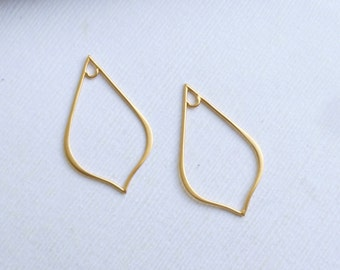 Gold Plated Sterling Silver Teardrop  -- Two Pieces of Connectors -- Earring Components  HBGA2748