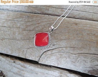 ON SALE Red coral necklace handmade in sterling silver 925 with red sponge coral