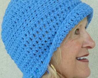 Women's winter hat, unique crochet hat in beautiful blue, versatile style hat that lets you choose your style, women's winter fashions