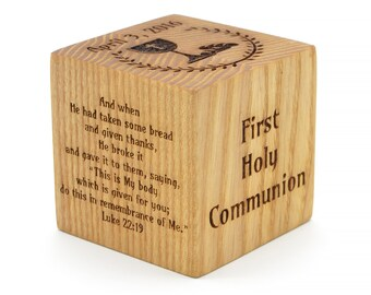 Personalized Baby Gifts First Holy Communion Personalized Wood Block First Communion Gift Boy Girl Engraved Wooden Block First Confirmation
