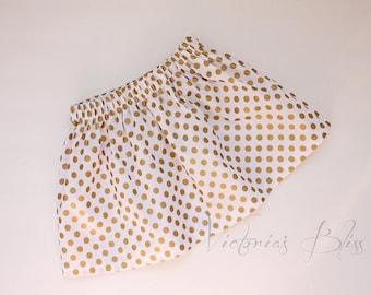 Girls Skirt -Market Circle Skirt ~WHITE w/ Gold Polka Dots Custom Boutique Skirt/Infant/Toddler Girls-Made to order:  Newborn to 5/6 Girls