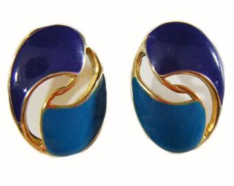 Vintage 80's Dark Purple & Emerald Blue Oval Shaped Pierced Earrings