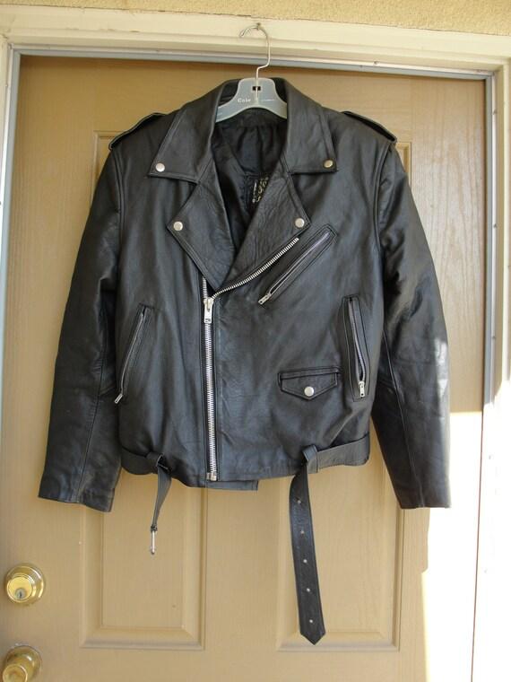 Vintage Black Leather Motorcycle vest// Biker Jacket MENS Size 50 XXXL 1980s 1990s 80s 90s Oscar Piel jNUvLIRQ89