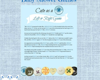 Cute as a Button Left Or Right Baby Shower Game - Instant Download - Bottoms and Light Blue Background