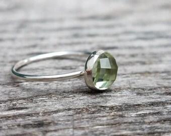 Rose Cut Green Quartz Gemstone Stacking Ring