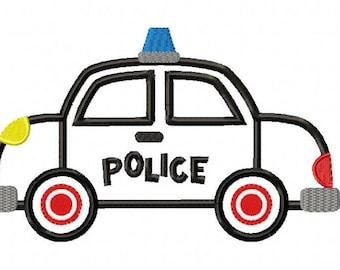 Police Car Machine Embroidery Design