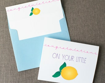 Congratulations On Your Little Lemon Mom to Be Baby Shower Greeting Card | Card for Parents to Be | Cute Baby Shower Greeting Card | Preggo