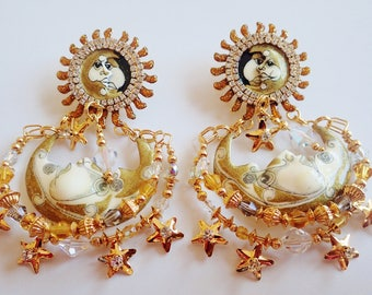Brand New Never Worn Lunch At The Ritz Celestial Eclipse Post Earrings
