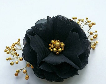 Black flower hair clip Black hair accessory Bridesmaids accessories Flower for hair