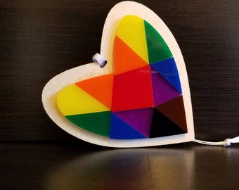 Love Ornament - Heart Prism Ornament with pride colors