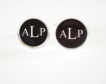 Custom Monogrammed Cufflinks - personalized mens cufflinks - fathers day - cuff links - weddings-  mens accessories - mens gifts