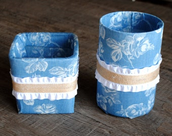 Blue Denim/White Floral and Ruffle Vase/Flower Pot